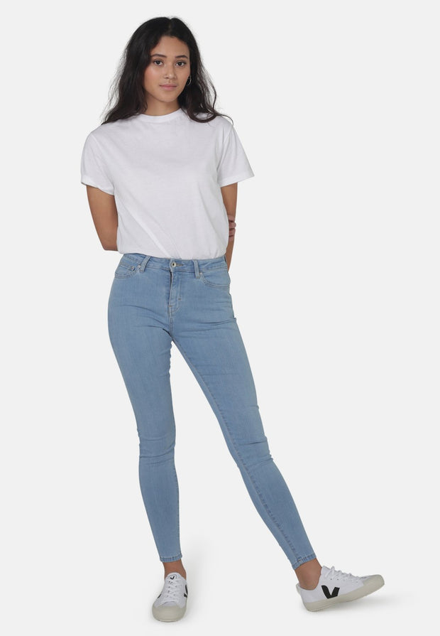 JANE // Organic Super Skinny High Waist Jeans in Light Blue Eco Wash