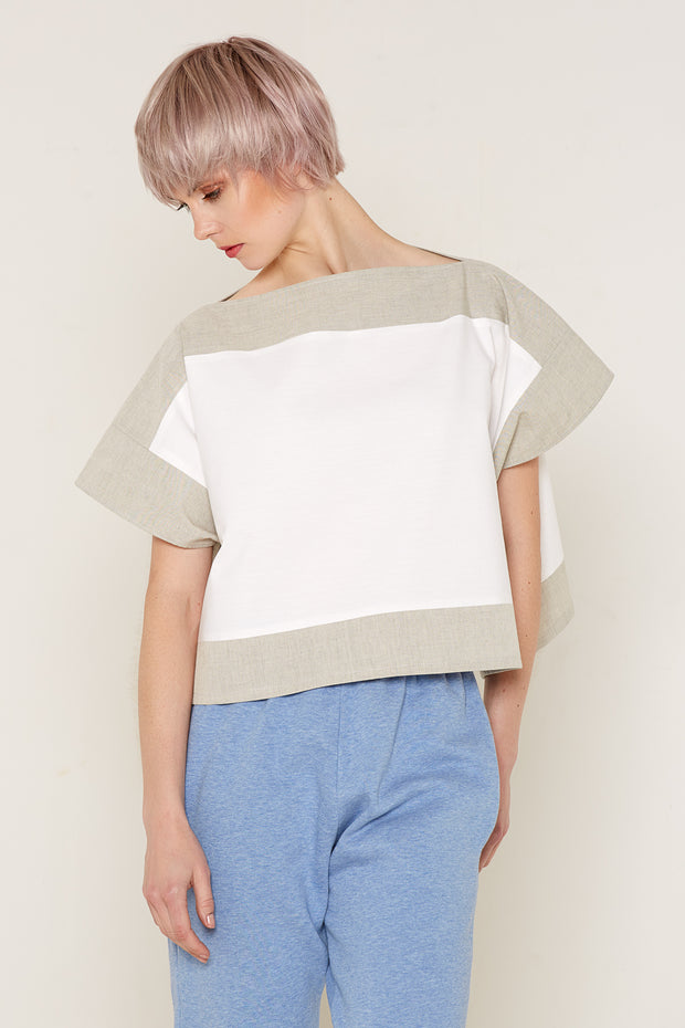 Luna Top (White and Beige) (one size)