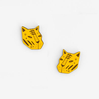 Stud Earrings Tiger Face