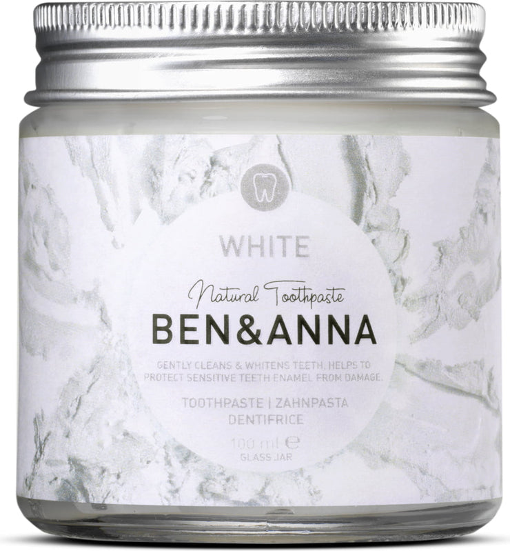 Tooth Paste in Glass Jar White