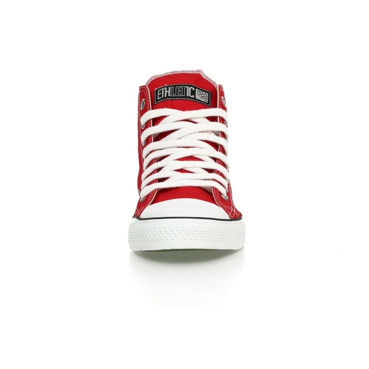 ETHLETIC / Fair Trainer White Cap Hi Cut / Cranberry Red | Just White