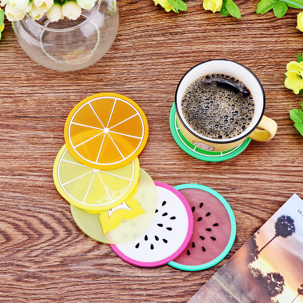 6Pcs Fruit Coaster Colorful Silicone Coasters - Eco Haven