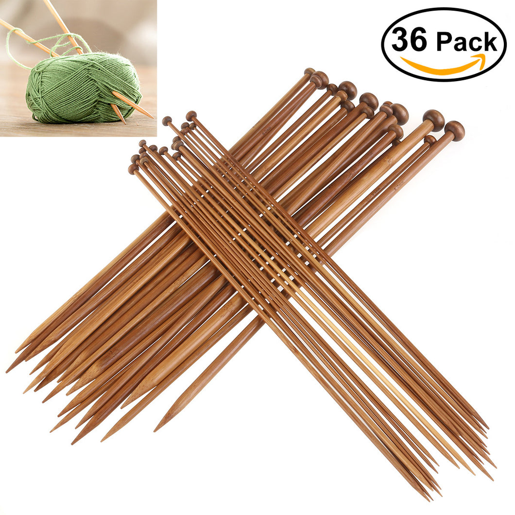 36pcs Professional Bamboo Single Pointed Crochet Needles - Eco Haven