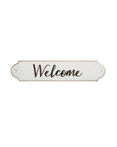 Gold Lined Stoneware Sign - Welcome