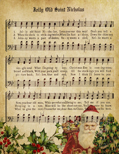 Jolly Old Saint Nicholas Vintage Music - Digital Download