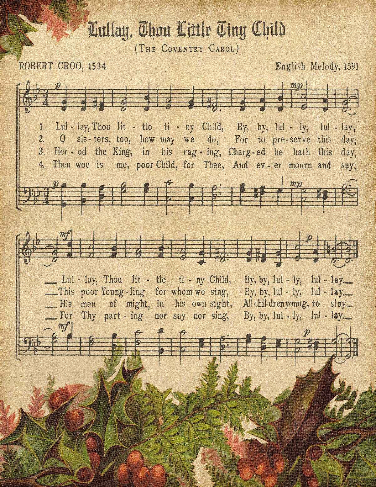 Lullaby, Thou Little Tiny Child Vintage Music - Digital Download