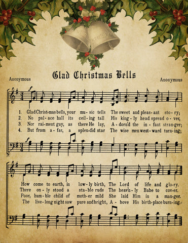 Glad Christmas Bells Vintage Music - Digital Download