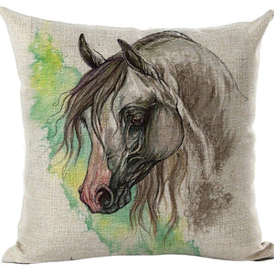 Cushion Cover Animal Cotton Linen Pentium Horse Felicity Cushion Mural Cock Chicken Home Decorative Car Sofa Throw Pillow Cover
