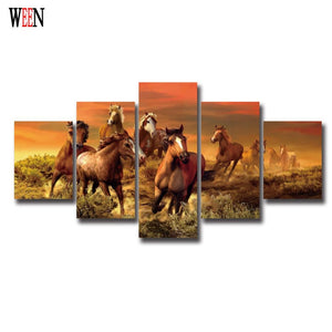 5 Piece Horse Canvas Art With Framed Direatly Handed Wall Pictures For Living Room HD Print Large Modern Cuadros Decoracion