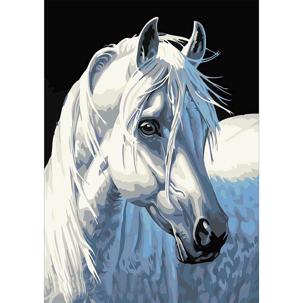 40*30cm 3D DIY Diamond Embroidery White Horse Painting Fashion Modern Style Handmade Cross-Stitch Home Decoration