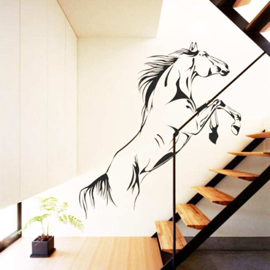 2016 Home Decor New Black Running Horse Wall Sticker Removable Vinyl Decal Art Mural Home Decor