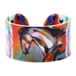 Bonsny Acrylic Pattern Love Wide Colorful Horse Bangles Bracelet Animal Jewelry For Women 2017 New Spring Summer Accessories