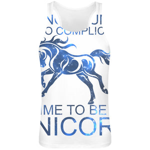 Beeing A Human Is Too Complicated Time To Be A Unicorn Slogan   Sublimation Tank Top T-Shirt For Men - 100% Soft Polyester - All-Over Printing - Custom Printed Mens Clothing