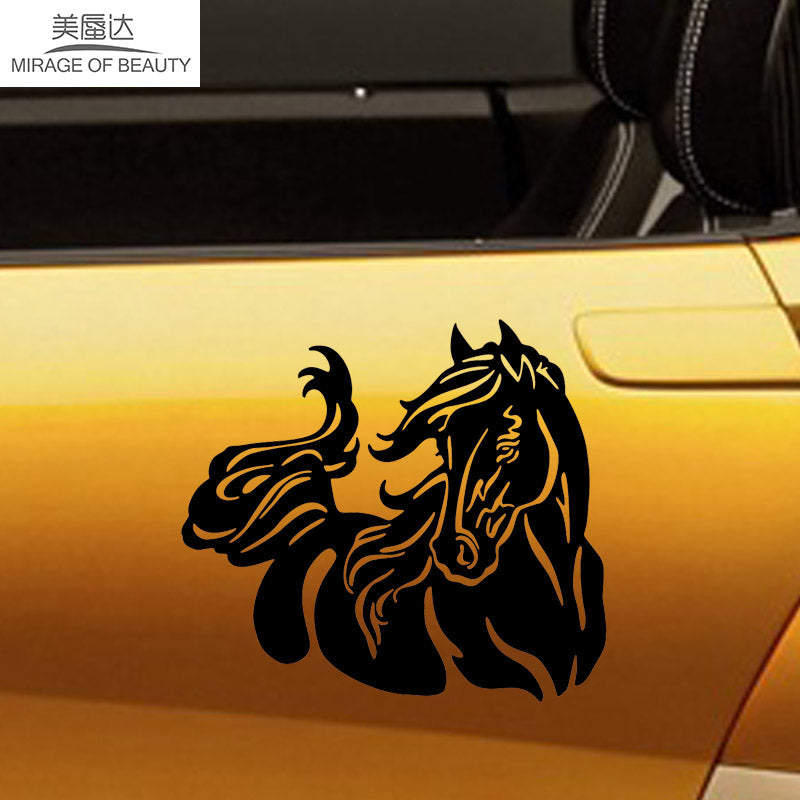 15cm*13.4cm Large Animal Car Stickers Beautiful Horse Pattern Car Body Sticker Stylish Pet Equine Reflective Vinyl Decal