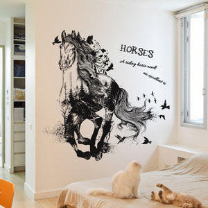 Black Run Of Horse Removable Cartoon Wall Stickers Living Room Sofa Background Home Decor Sticker Mural