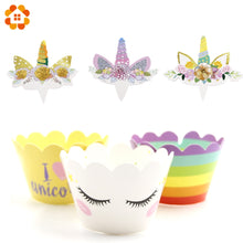 24PCS Best Quality DIY Cartoon Unicorn Horse Rainbow Cupcake Wrappers Cake Topper kids Birthday Party Supplies Wedding Supplies