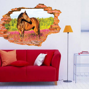 3D Broken Wall Horse Scenery Household Adornment Can Remove The Wall Stickers 60x90cm CP0474