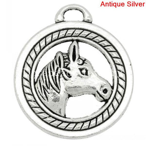 Charm Pendants Round Antique Silver Horse Head Carved 28x25mm,10PCs (K10308)