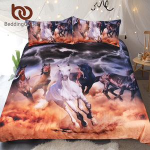 BeddingOutlet Horses Bedding Set 3D Dusty Lightning Printed Duvet Cover Double for Adults Bed Cover Photography Bedclothes 3pcs