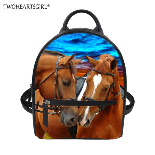 TWOHEARTSGIRL Cool Horse Pattern Casual Small Backpack for Women Travel  Shoulder Back Pack School Teenagers Girls bd6819983abf7