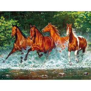 5d Diy Diamond Painting Cross Stitch The Running Horses Diamond Embroidery Crystal Animal Diamond Mosaic Pictures Needlework gx