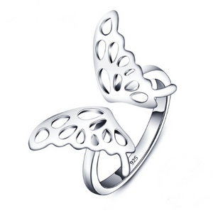 Butterfly rings, adjustable size, made of 925 sterling silver