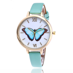 Butterfly watches for ladies, with slim leather straps, in turquoise color