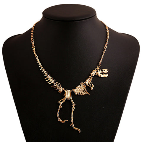 T-rex dinosaur skeleton necklace (main view)