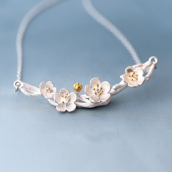 Sterling silver sakura flower necklace Flower neclace Silver necklace for women (Close up)