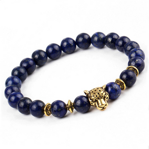panther bead bracelets (blue stone & gold)
