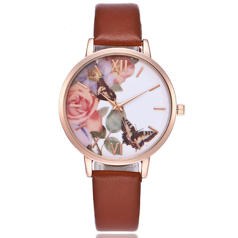 """Dancing in the Roses"" -- Women's Butterfly Watch"