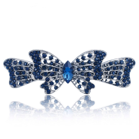 Ribbon butterfly hair clips hair barrettes (blue)