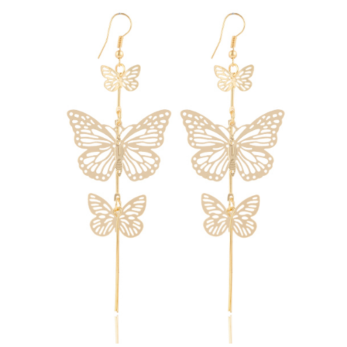 The Dancers -- Long Butterfly Dangle Earrings (main)