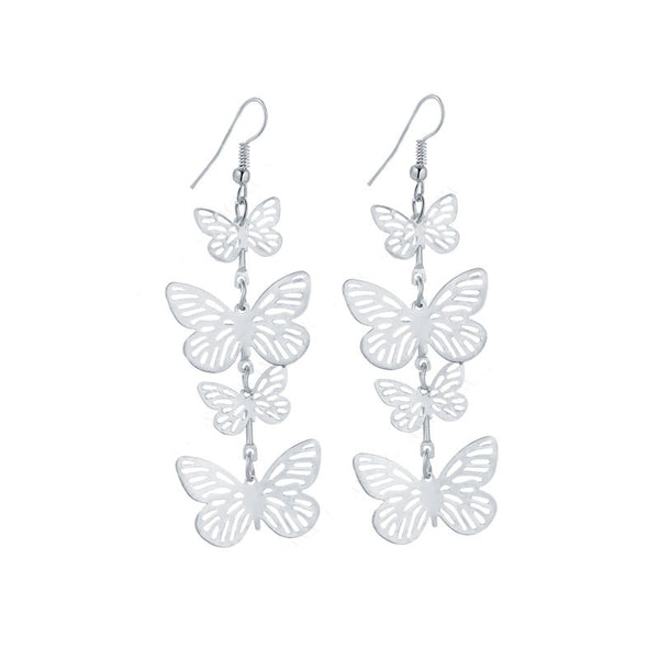 Dance of Spring -- Long Butterly Dangle Earrings (silver)