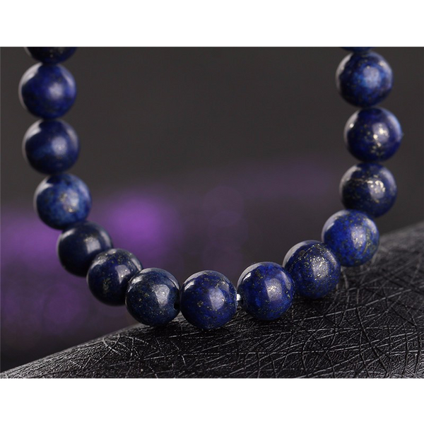 close up of the bead bracelet (blue stone)