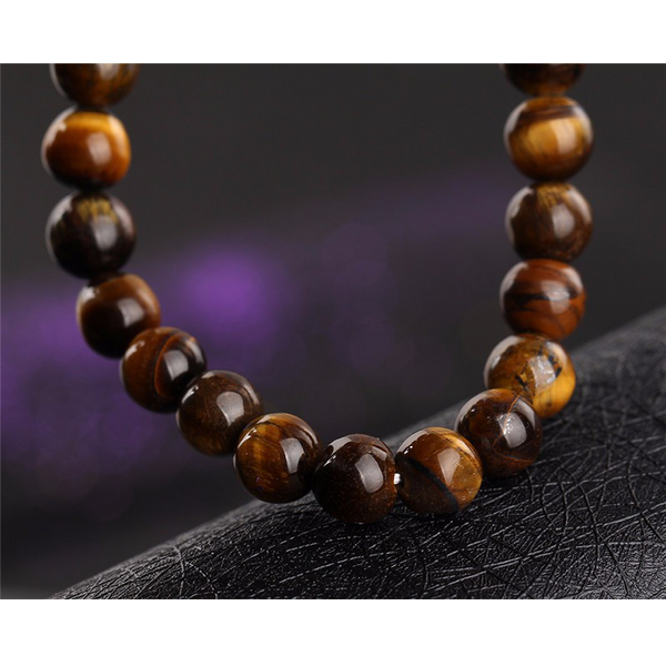 close up of the bead bracelet (tiger eye)