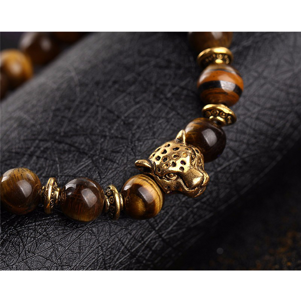 close up of the panther bracelet (tiger eye)