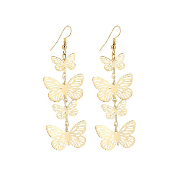 Dance of Spring -- Long Butterly Dangle Earrings (gold)