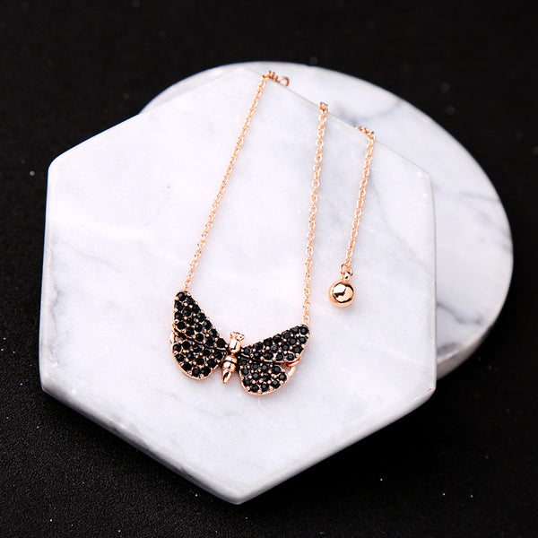 Black crystal butterfly bracelets in rose gold color