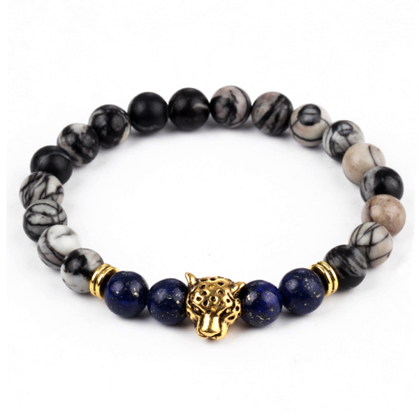 panther bead bracelet (marble and gold)