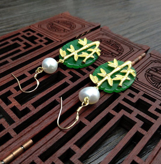 Women Earrings Green Jade Bamboo 925 sterling silver 18K gold plated