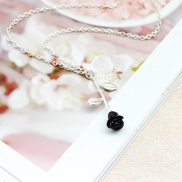 Black rose necklace Fashion necklace for women Cheap neclace (silver color)