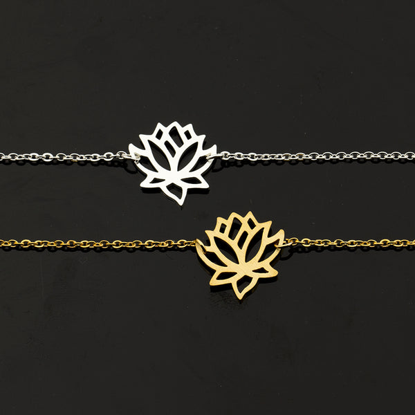 Zen Pond Lotus Flower Bracelet silver and gold