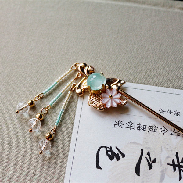 Chinese Hair Pin Green agate koi fish Crystal tassels Hairpin Stick