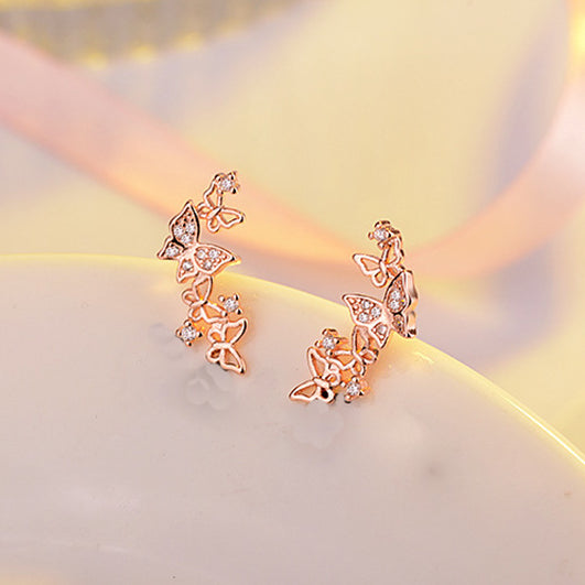 Crescent 925 Sterling Silver Butterfly Earrings in rose gold 2