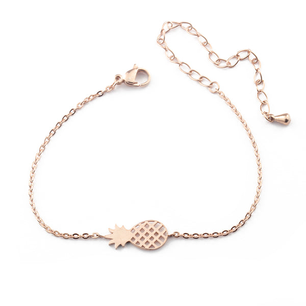 pineapple charm bracelet (rose gold)