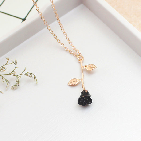 Black rose necklace Fashion necklace for women Cheap neclace (rose gold color)