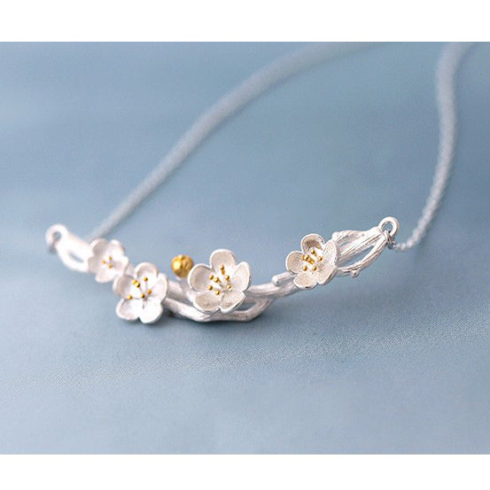 Sakura Branch 925 Sterling Silver Necklace side view