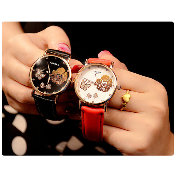 butterfly watches in black and red
