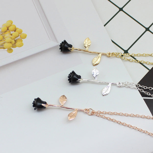 Black rose necklace Fashion necklace for women Cheap neclace (in three colors)